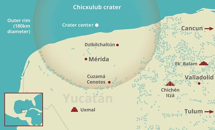 Mapa: ubicación del cráter Chicxulub en la Península de Yucatán.