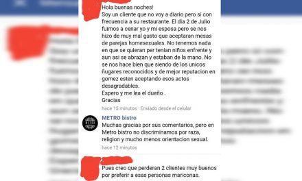 Cliente homofóbico se molesta por presencia de gays, el restaurante responde de forma épica