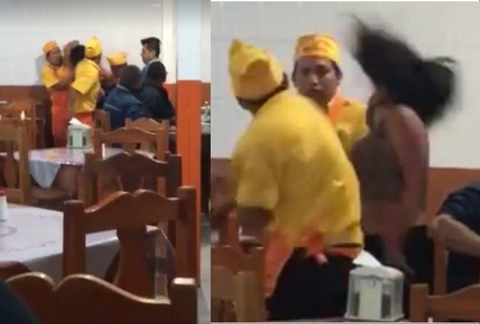 Empleados de taquería de Querétaro someten a una mujer ¡Y uno de ellos la noquea!