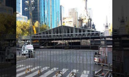 Afectada circulación en Reforma por instalación de escenario