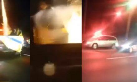 Festejan triunfo del Tigres… ¡Y que les explotan los cohetes en la camioneta!
