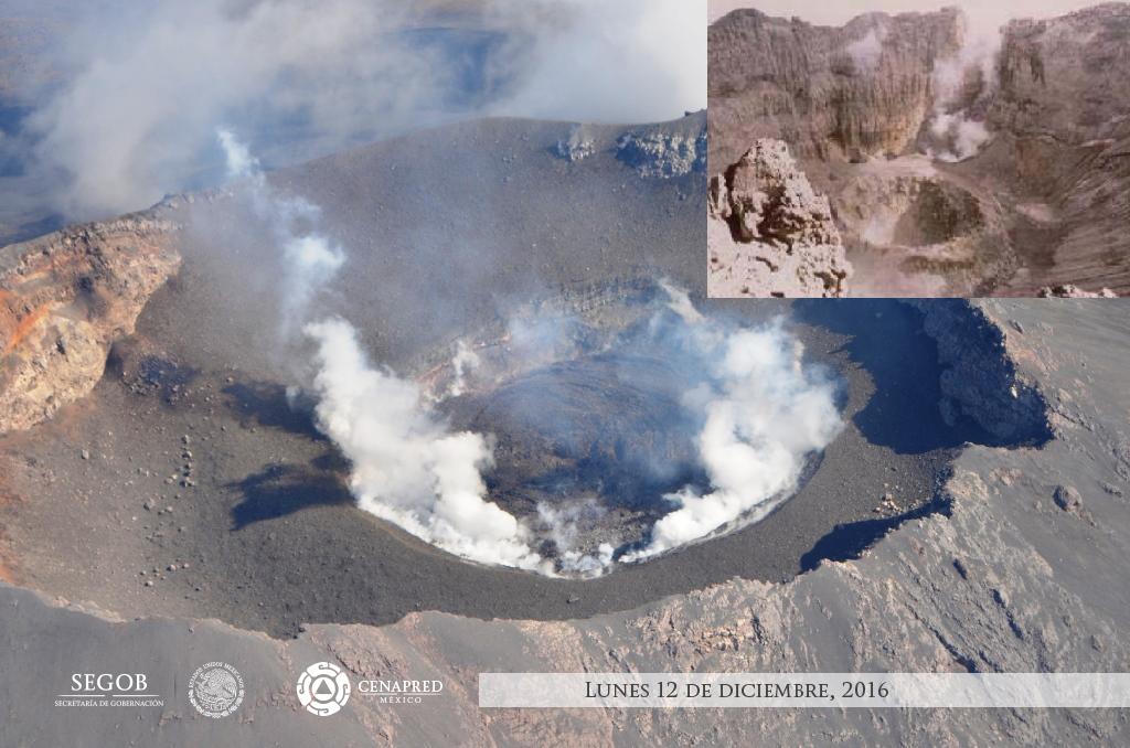 Foto: comparación del piso actual del cráter interno a 30 metros del borde inferior vs. cráter de 1996 cuyo fondo se ubicaba a más de 230 metros del borde inferior.