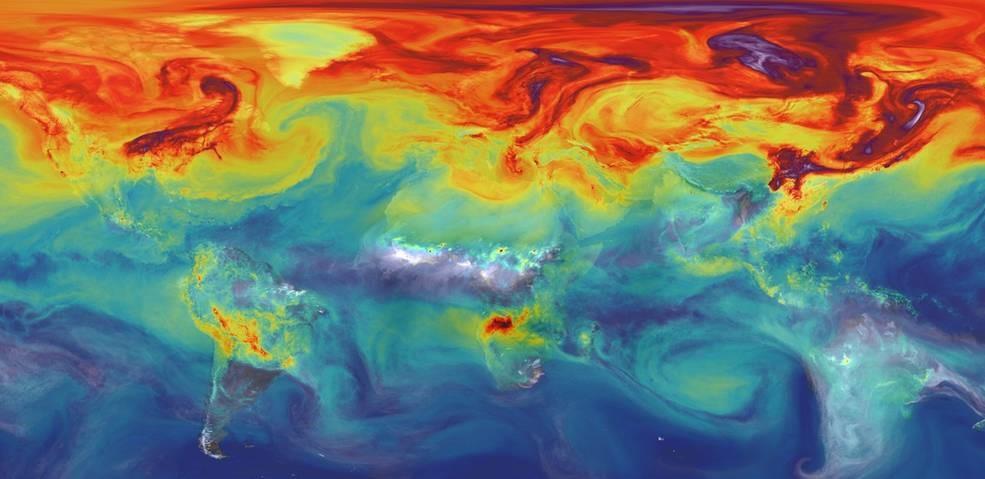 Imagen: concentración del dióxido de carbono (CO2) en la atmósfera de la Tierra.