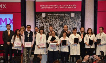 """Firma Gobierno de CDMX convenio con Fundación Carlos Slim para fortalecer """"El Médico en Tu Casa"""""""