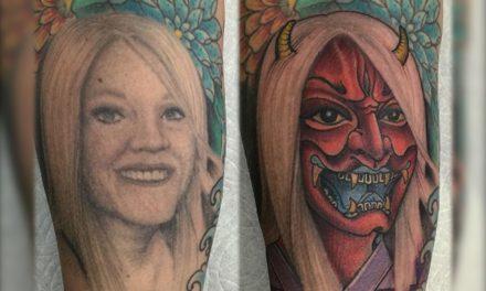 Se divorcian y él transformó el tatuaje del rostro de su esposa ¡En un demonio!