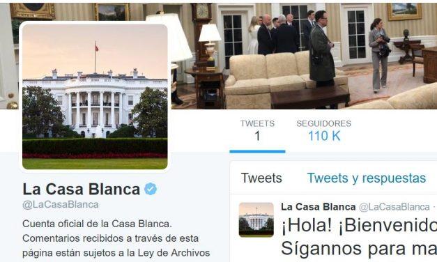 Primer tweet de la Casa Blanca de Trump ¡Con falta de ortografía!