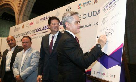 Alianza CDMX, Colima, Durango, Guadalajara y Morelia, ejemplo para conformar red de ciudades en beneficio de la población