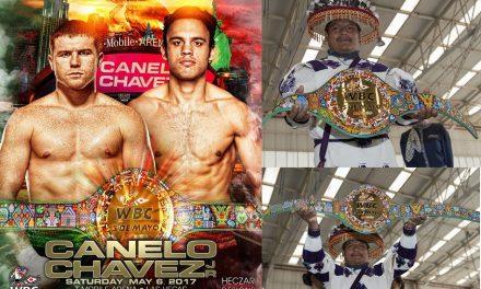 """Listo el cinturón que disputarán """"El Canelo"""" y Chávez Jr ¡Es una obra de arte Huichol!"""