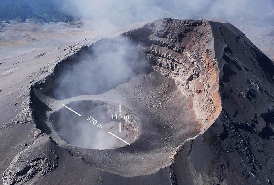 Aumenta el tamaño del cráter del Popocatéptl