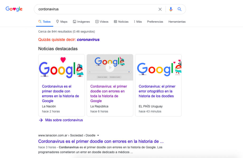 El primer error de Google en la historia de los doodles — Coronavirus