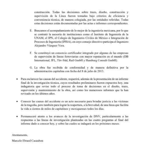 Comunicado oficial de Marcelo Ebrard